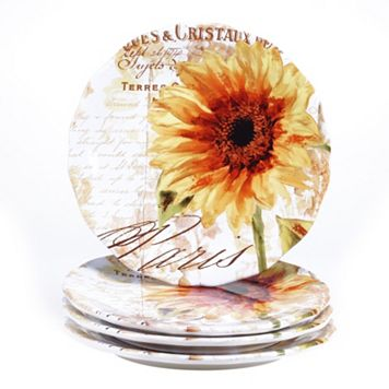 Certified International Paris Sunflower 4-pc. Dinner Plate Set