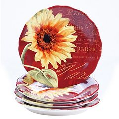 Certified International Paris Sunflower 4 pc Salad Plate Set