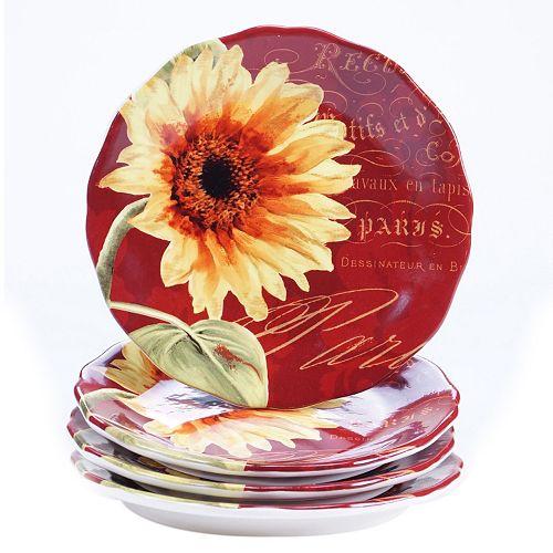 Certified International Paris Sunflower 4-pc. Salad Plate Set