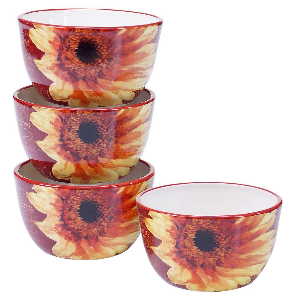 Certified International Paris Sunflower 4-pc. Ice Cream Bowl Set