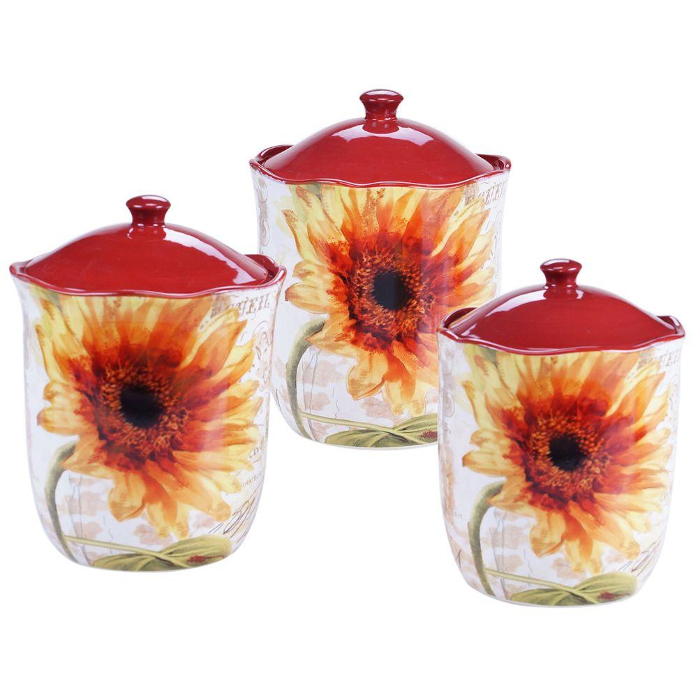 international paris sunflower 3 pc kitchen canister set