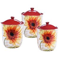 Certified International Paris Sunflower 3 pc Kitchen Canister Set