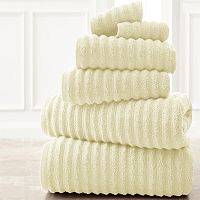 Spring Bloom 6 pc Wavy Luxury Spa Collection Cotton Bath Towel Set