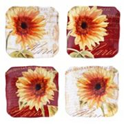 Certified International Parisian Sunflower 4 pc Square Canape Plate Set
