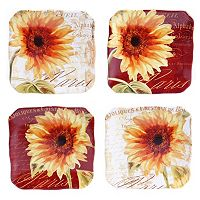 Certified International Parisian Sunflower 4-pc. Square Canape Plate Set