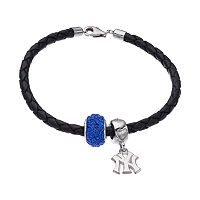 LogoArt New York Yankees Crystal Sterling Silver & Leather Charm Bracelet