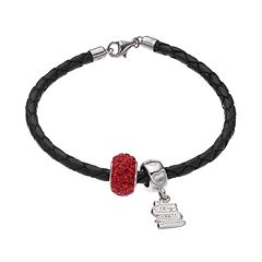 LogoArt St. Louis Cardinals Crystal Sterling Silver & Leather Charm Bracelet