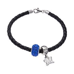 LogoArt Milwaukee Brewers Crystal Sterling Silver & Leather Charm Bracelet