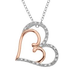 1/10 Carat T.W. Diamond Two Tone 14k Gold Double Heart Pendant Necklace