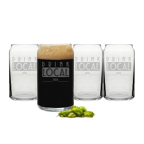 """Cathy's Concepts """"Drink Local Brew"""" 4-pc. Beer Can Glass Set"""