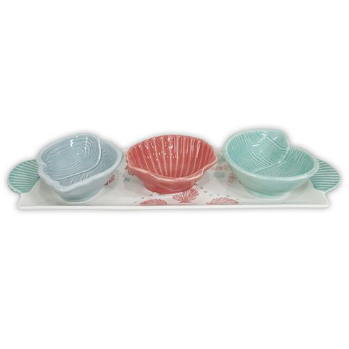 Celebrate Local Life Together Coastal Seashell 4-pc. Bowl Serving Tray Set