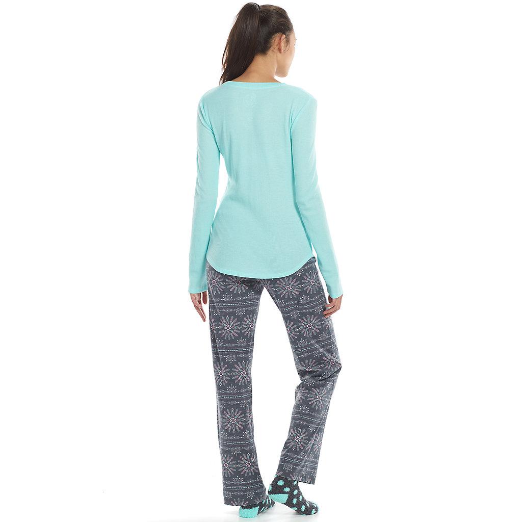 Juniors' SO® Pajamas: Geometric 3-pc. Thermal Knit Pajama Gift Set
