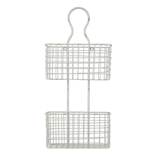 Distressed 2 Tier Wire Basket Wall Decor