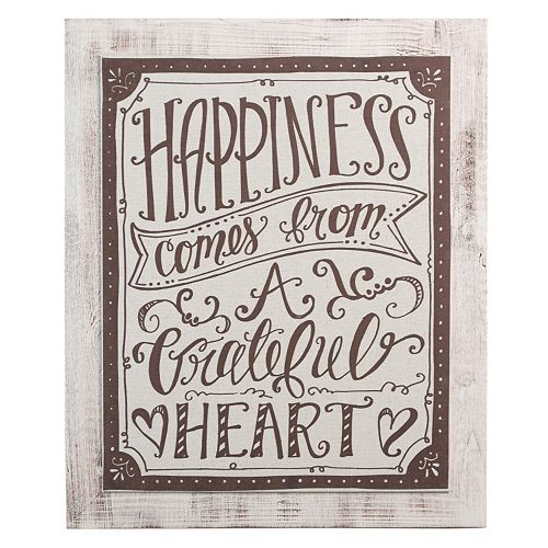 """Glory Haus """"Happiness Comes From A Grateful Heart"""" Wall Decor"""