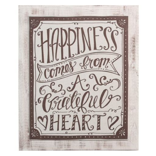 "Glory Haus ""Happiness Comes From A Grateful Heart"" Wall Decor"