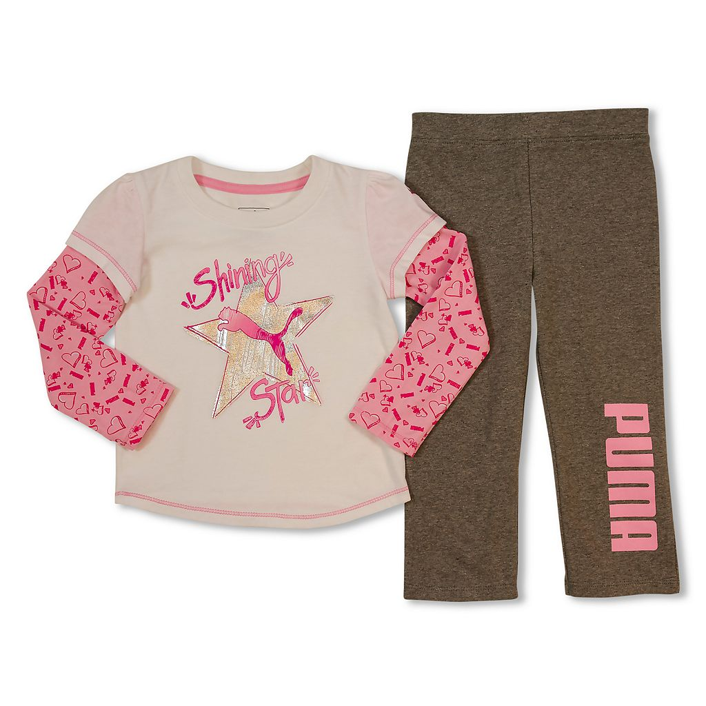 Toddler Girl PUMA Mock-Layer Graphic Tee & Pants Set