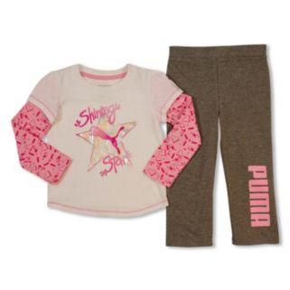 Toddler Girl PUMA Mock-Layer Graphic Tee & Pants Set