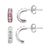 Charming Girl Kids' Sterling Silver Crystal Semi-Hoop Earring Set - Made with Swarovski Crystals