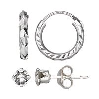 Charming Girl Kids' Sterling Silver Crystal Stud & Hoop Earring Set - Made with Swarovski Crystals