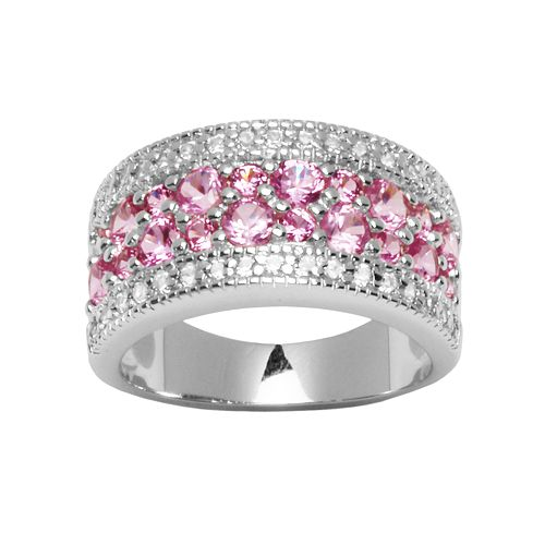 Lab-Created Pink & White Sapphire Sterling Silver Multirow Ring