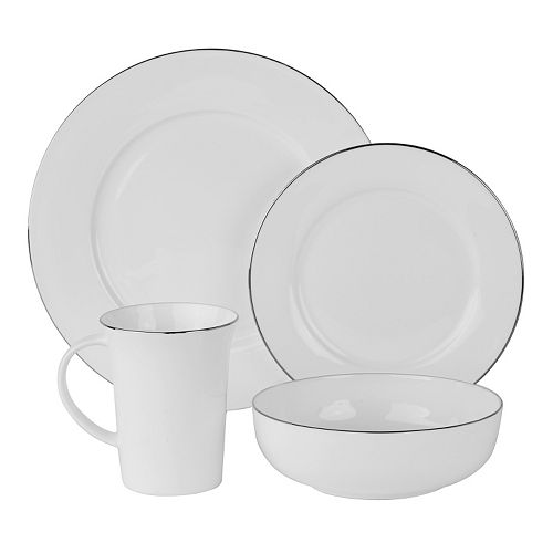 10 Strawberry Street Silver Band 16-pc. Dinnerware Set