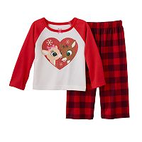 Baby Girl Rudolph the Red Nosed Reindeer & Clarice Glitter Heart Pajama Set
