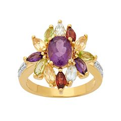 Gemstone 18k Gold Over Silver Flower Ring