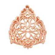 18k Rose Gold Over Silver Floral Filigree Ring
