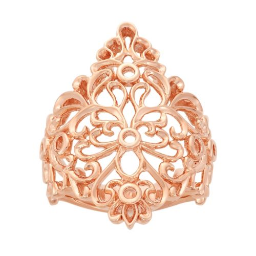18k Rose Gold Over Silver Floral Filigree Ring