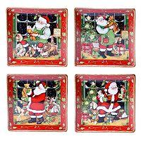 Certified International Susan Winget Santa's Workshop 4-pc. Dinner Plate Set