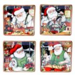 Certified International Susan Winget Santa's Workshop 4-pc. Dessert Plate Set