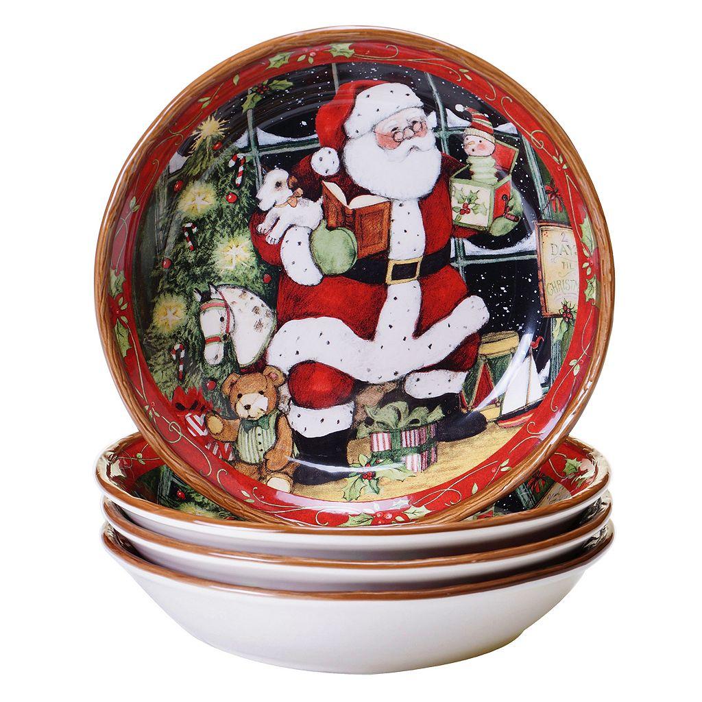Certified International Susan Winget Santa's Workshop 4-pc. Soup/Pasta Bowl Set