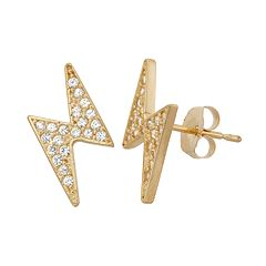 Cubic Zirconia 10k Gold Lightning Stud Earrings