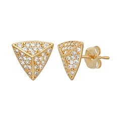 Cubic Zirconia 10k Gold Pyramid Stud Earrings