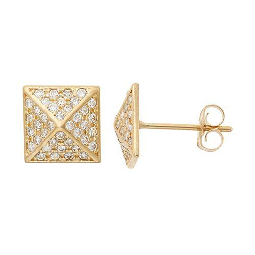 Cubic Zirconia 10k Gold Pyramid Stud Earrings