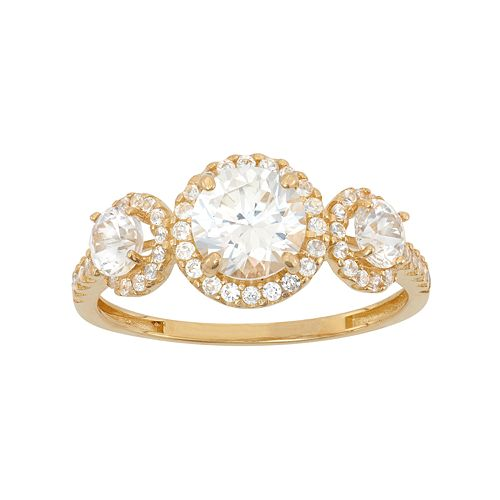 Cubic Zirconia 3-Stone Halo Engagement Ring in 10k Gold