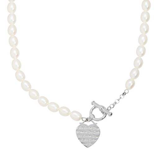 Freshwater by HONORA Freshwater Cultured Pearl Heart Toggle Necklace