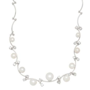 Freshwater by HONORA Sterling Silver Freshwater Cultured Pearl Vine Necklace