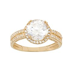 Cubic Zirconia Halo Engagement Ring in 10k Gold