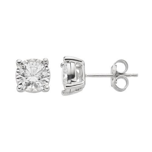 1 1/2 Carat T.W.  Diamond 14k White Gold Stud Earrings
