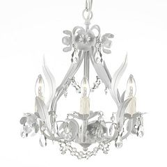 Gallery Wrought Iron Floral Crystal Swag Chandelier