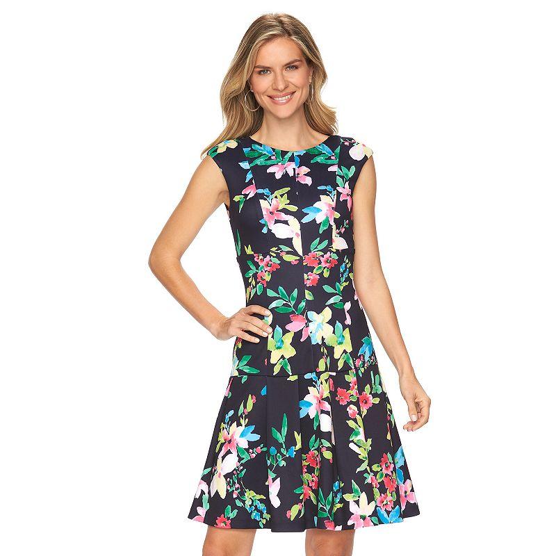 Petite Chaps Floral Scuba Drop-Waist Dress