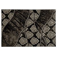 Linon Jewel Damask Black / Brown Rug