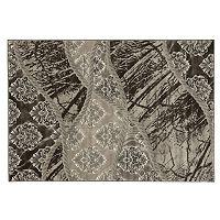Linon Jewel Damask Black / Brown Rug