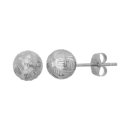 10k Gold Textured Ball Stud Earrings
