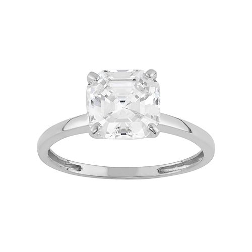 Cubic Zirconia Solitaire Engagement Ring in 10k Gold