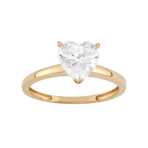 Cubic Zirconia Heart Solitaire Engagement Ring in 10k Gold