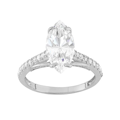 10k Gold Cubic Zirconia Marquise Engagement Ring