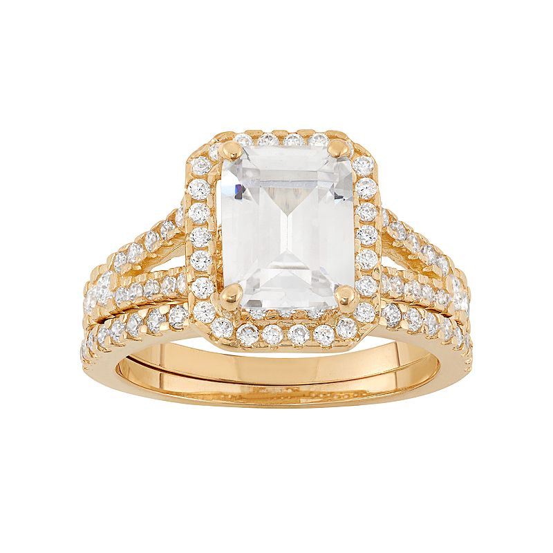 Cubic Zirconia Rectangle Halo Engagement Ring Set in 10k Gold