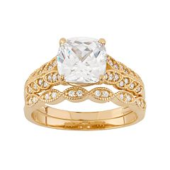 Cubic Zirconia Scalloped 10k Gold Engagement Ring Set